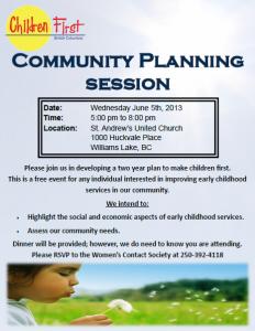 Community Planning Session @ St. Andrew's United Church | Williams Lake | British Columbia | Canada