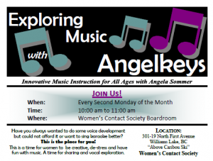 Exploring Music with Angelkeys @ Women's Contact Society Boardroom | Williams Lake | British Columbia | Canada
