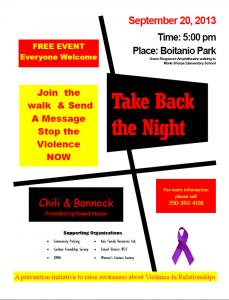 Take Back the Night @ Boitanio Park & Marie Sharpe | Williams Lake | British Columbia | Canada