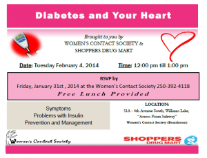 Noon Hour Workshop:  Diabetes and Your Heart @ Women's Contact Society Boardroom | Williams Lake | British Columbia | Canada