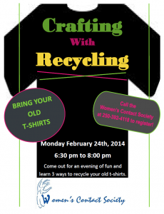 Crafting with Recycling:  T-Shirts @ Women's Contact Society Boardroom | Williams Lake | British Columbia | Canada