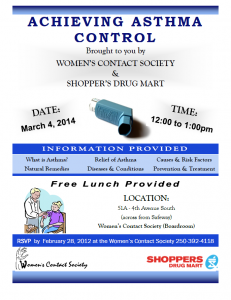 Noon Hour Workshop - Achieving Asthma Control @ Women's Contact Society | Williams Lake | British Columbia | Canada