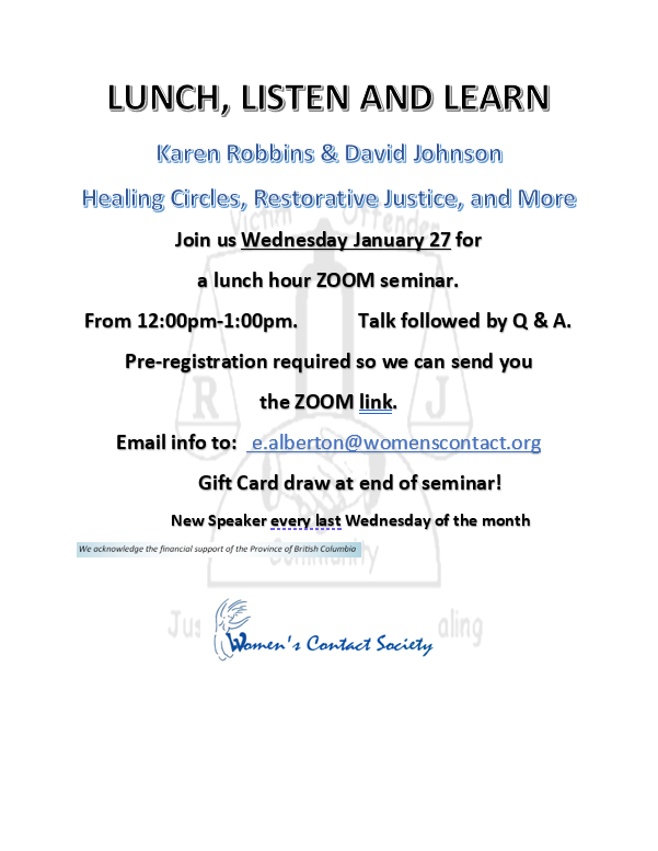 Lunch, Listen and Learn: Healing Circles, Restorative Justice, and More
